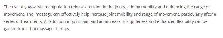 Thai Massage strengthen Joints