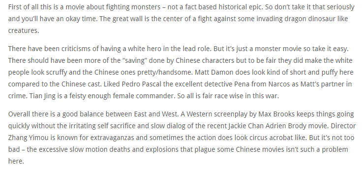 The Great Wall (2016) - reviews