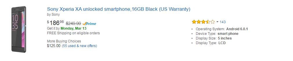 Amazon Mobiles - Sony Xperia XA