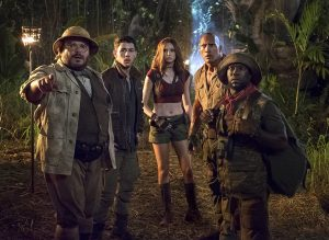 Jack Black Kevin Hart, Dwayne Johnson, and Karen Gillan in Jumanji Welcome to the Jungle 2017