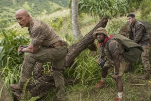 Kevin Hart, Dwayne Johnson, and Nick Jonas in Jumanji Welcome to the Jungle 2017