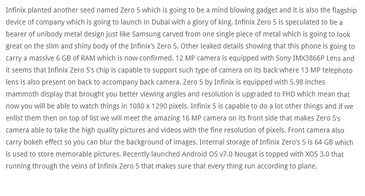 infinix zero 5 description