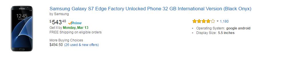 Amazon Mobiles - Samsung Galaxy s7 edge