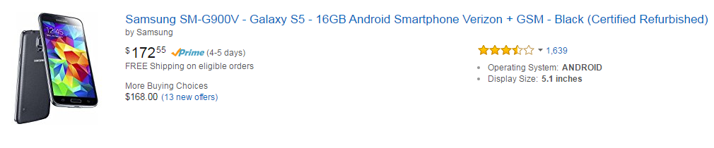 Amazon Mobiles - Samsung SM-G900V Galaxy S5