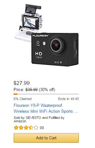 Floureon Y8-P Waaterproof Wireless Mini WiFi Action Sports